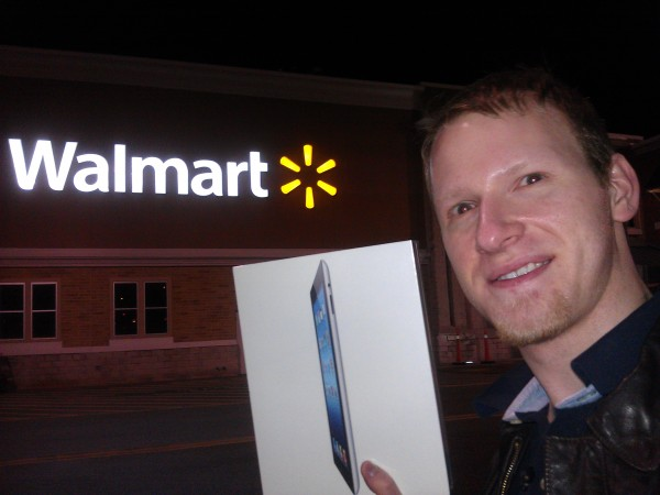 Daniel J. Lewis with a new iPad at Walmart