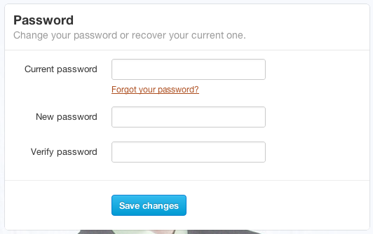 Twitter-change password