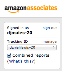 Amazon associates tracking ID selection