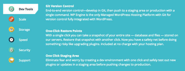 WP Engine managed hosting features review