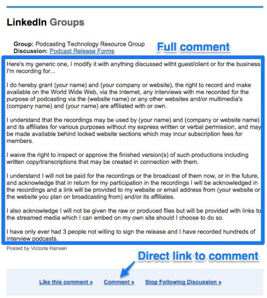 Screenshot of old LinkedIn notification emails with full comment and a direct link to the comment