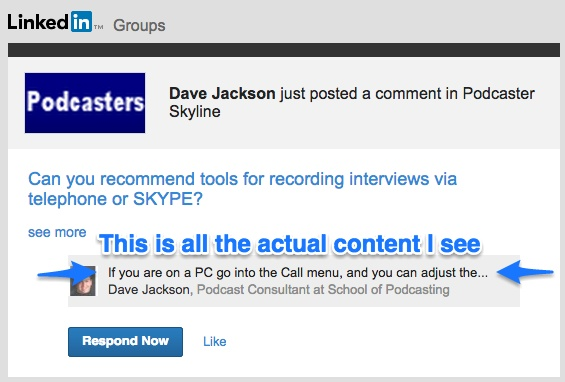 Screenshot of new LinkedIn emails with barely a complete link of actual content from the comment